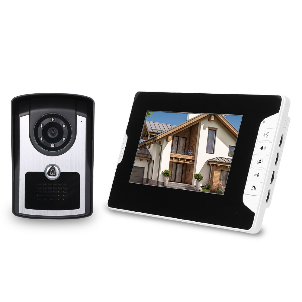 7 inch Monitor HD Camera Video Door Phone Doorbell Intercom System IR Night Vision Wired Doorbell Camera