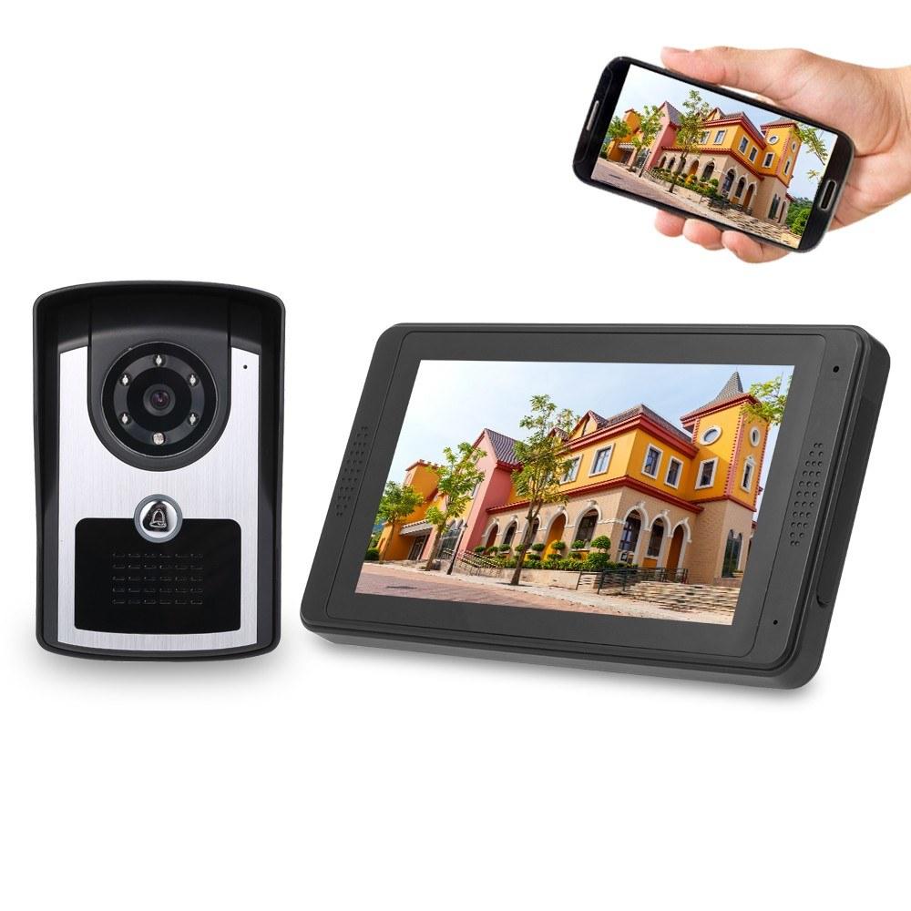 7'' TFT LCD Wireless WiFi Smart Video Door Phone Intercom System 1000TVL Wired Doorbell Camera