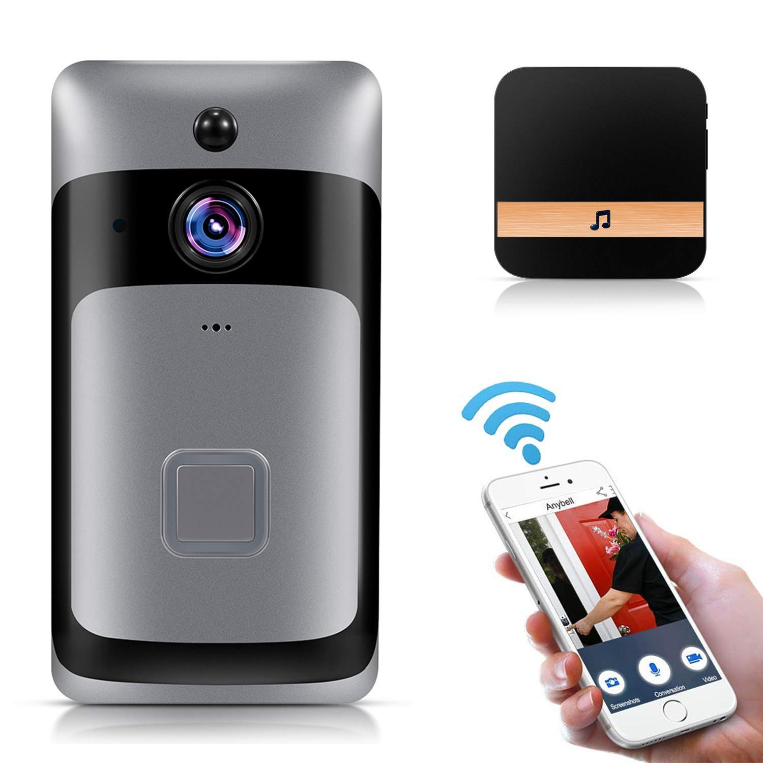 Smart Home WiFi Doorbell 1080P HD Security Camera with Two-Way Audio PIR Motion Detection IR Night Vision 160-Degree Wide Angle Lens Wireless Doorbell XF-IP007D-S Silver with Black UK Plug Chime