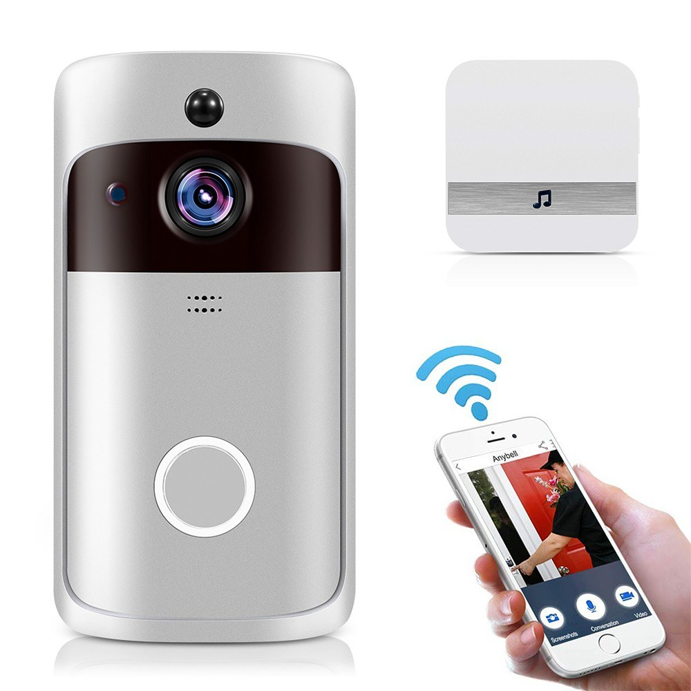 Smart Home WiFi Doorbell 1080P HD Security Camera with Two-Way Audio PIR Motion Detection IR Night Vision 160-Degree Wide Angle Lens Wireless Doorbell XF-IP007H-F Silver with White UK Plug Chime