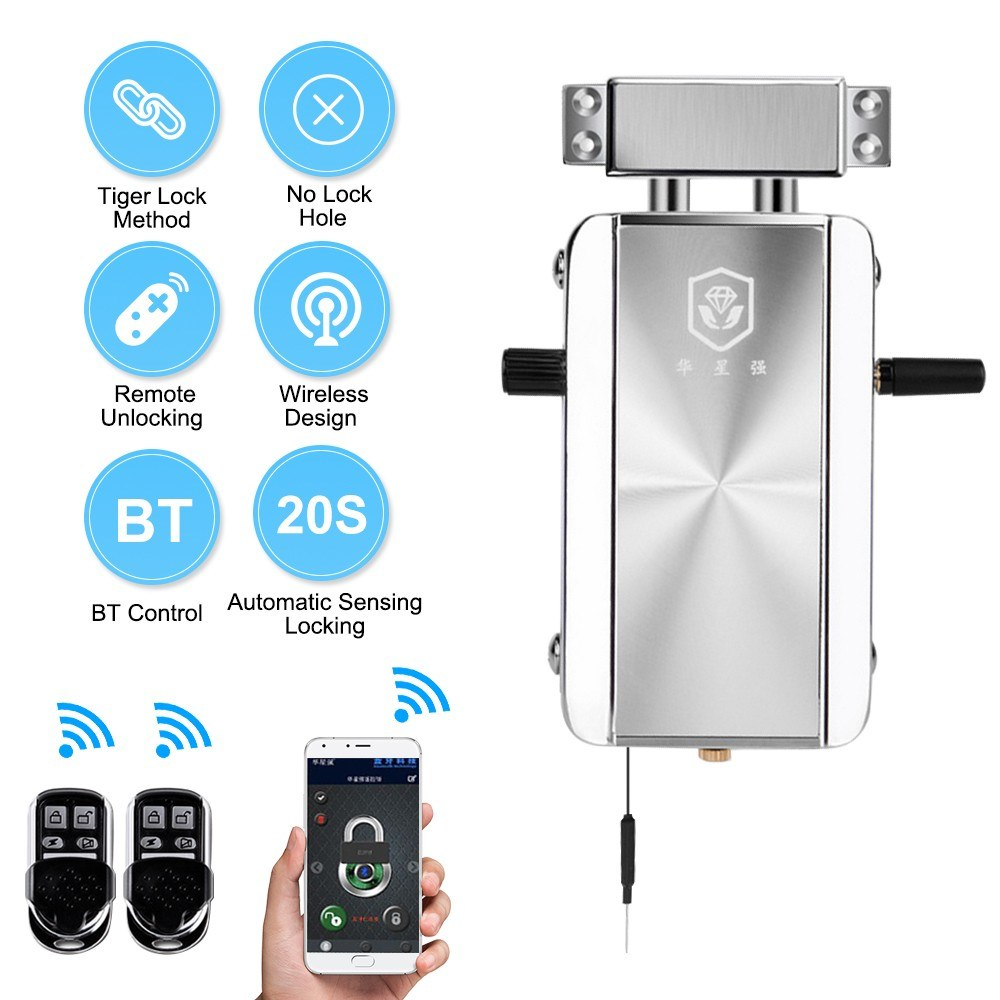 Intelligent Remote Control Lock Invisible Anti-theft Security Home Door Lock Support Remote Control Switch Lock BT APP Control Indoor Manual Emergency Button Switch 20 Seconds Automatic Locking for Home Hotel Apartment HXQ909D-2Key