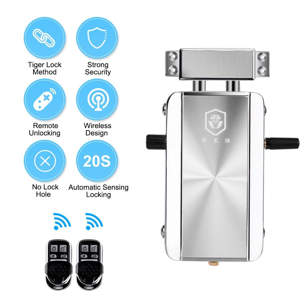 Intelligent Remote Control Lock Invisible Anti-theft Security Home Door Lock Support Remote Control Switch Lock Indoor Manual Emergency Button Switch 20 Seconds Automatic Locking for Home Hotel Apartment HXQ909D-2Key