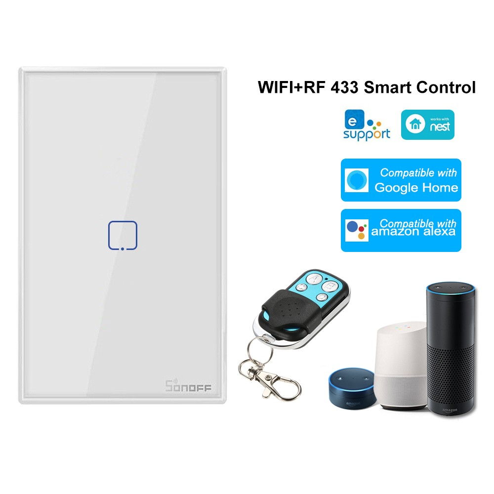 SONOFF T2US1C-TX 1 Gang Smart WiFi Wall Light Switch 433MHz Wireless Control RF Remote Controller APP/Touch Control Timer US Standard Panel Smart Switch Compatible with Google Home/Nest & Alexa