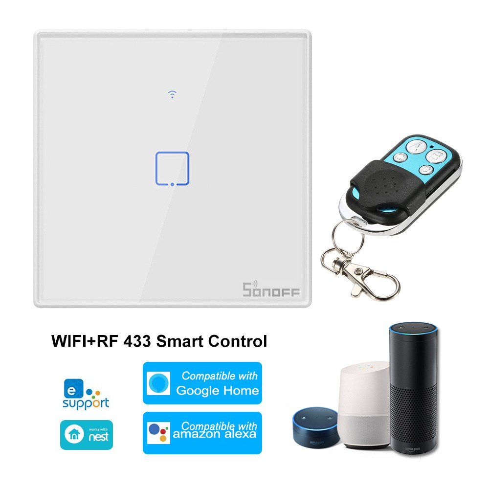 SONOFF T2EU1C-TX 1 Gang Smart WiFi Wall Light Switch 433Mhz Wireless Control RF Remote Control APP/Touch Control Timer EU Standard Panel Smart Switch Compatible with Google Home/Nest & Alexa