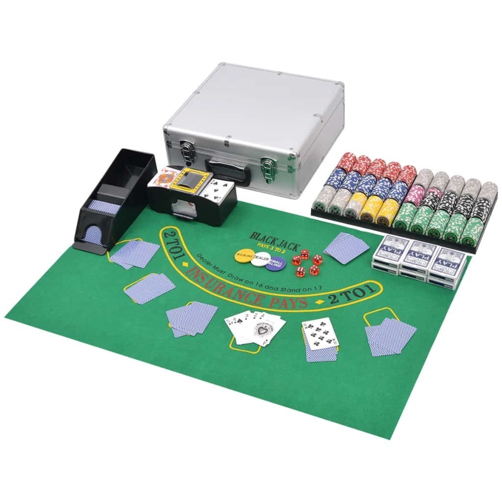 Poker / Mixed Blackjack game with 600 Laser Aluminum chips