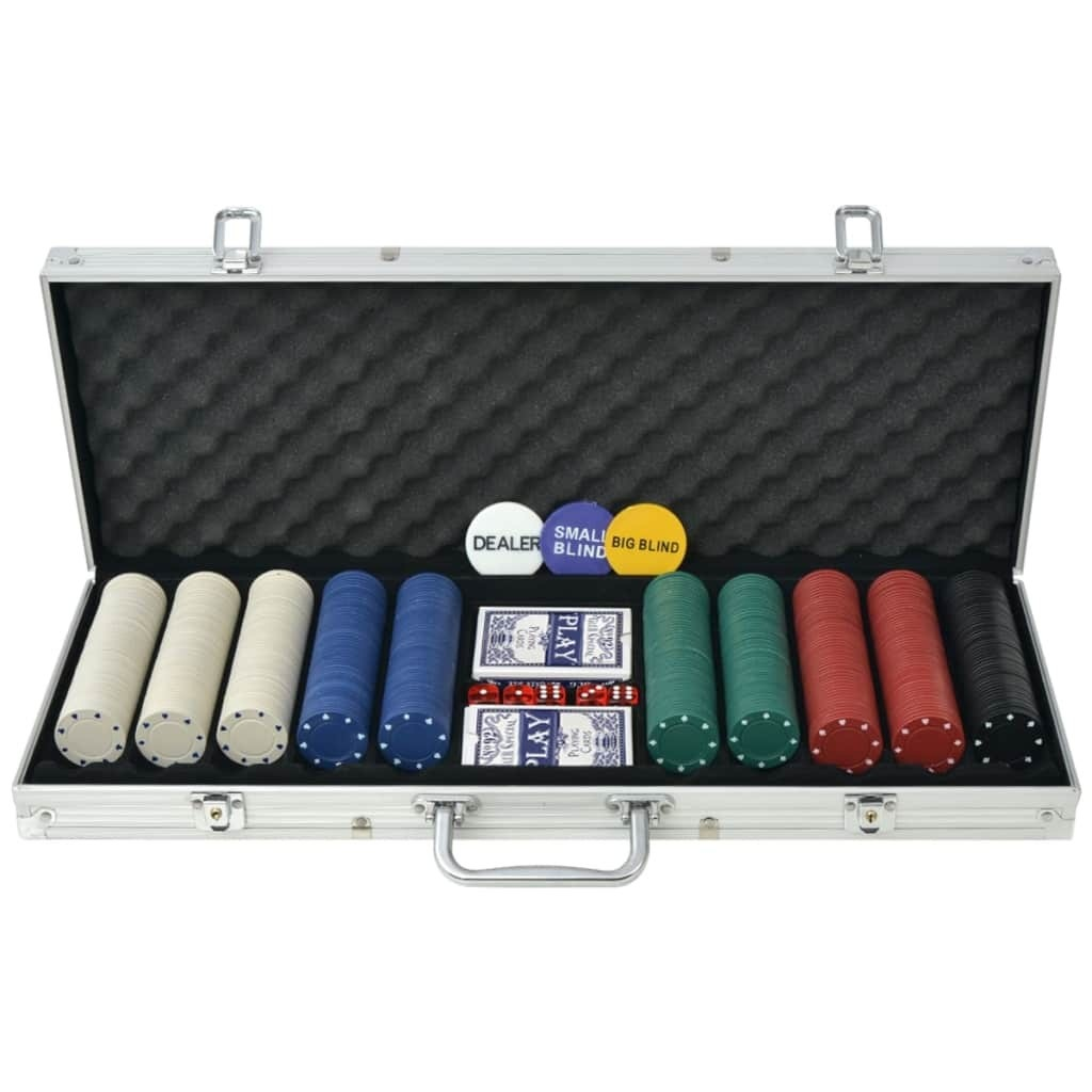 Poker game with 500 chips Aluminum