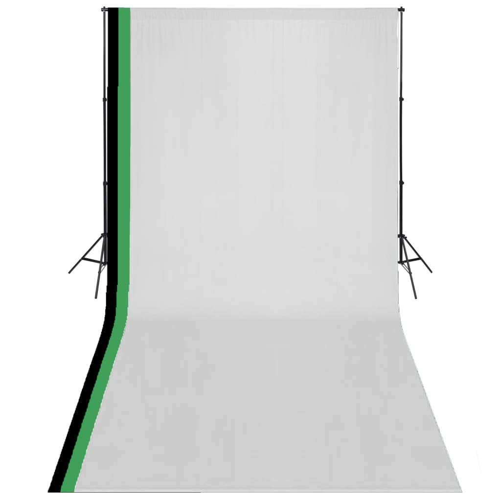 Photo studio kit and 3 adjustable backdrops Cotton 3x6 m