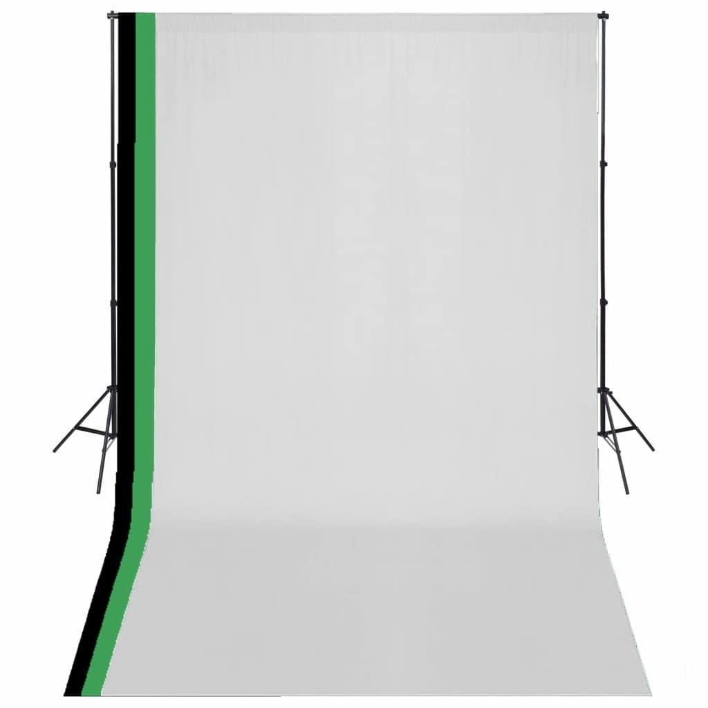 Photo studio kit and 3 adjustable backdrops Cotton 3x5 m