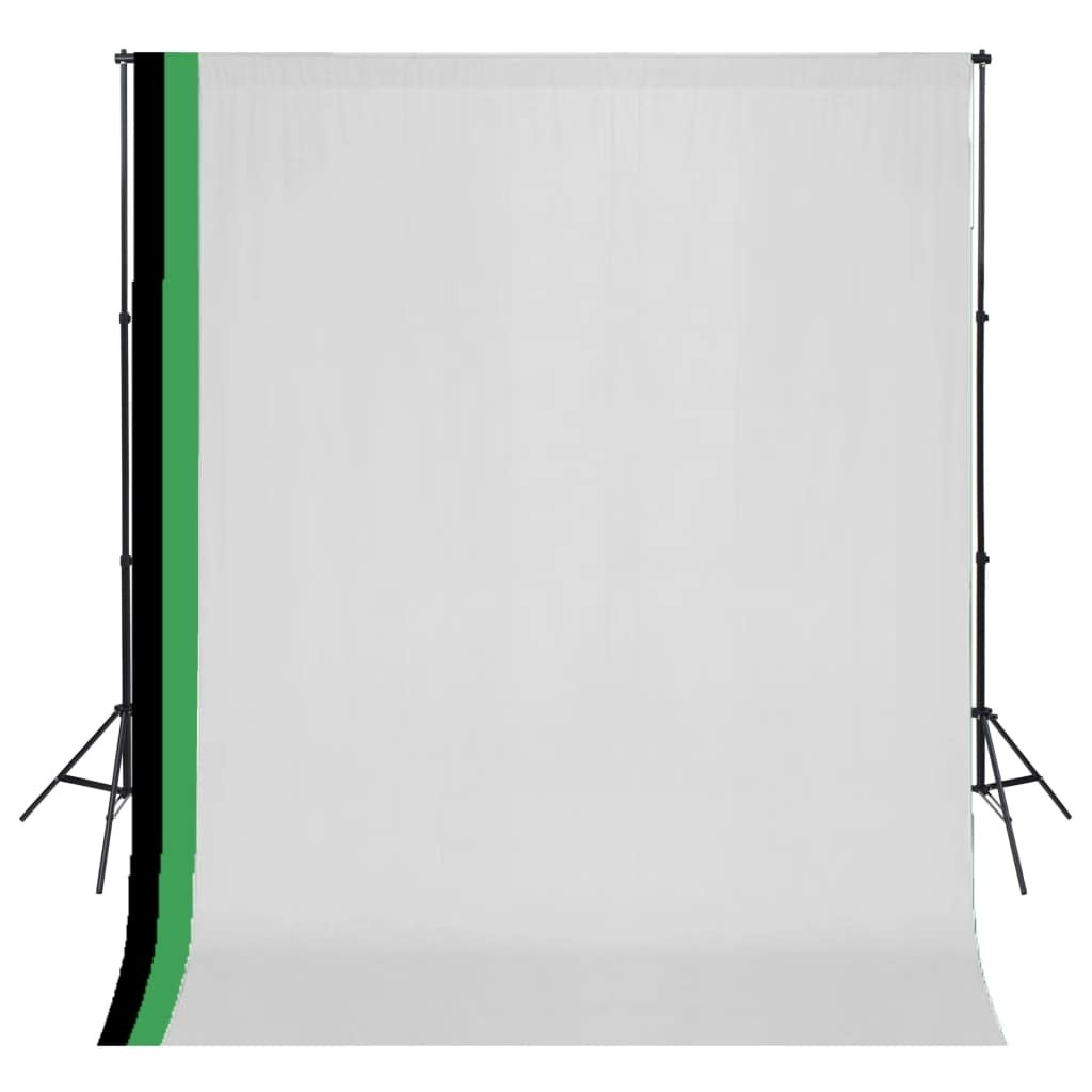 Photo studio kit and 3 adjustable backdrops Cotton 3x3 m