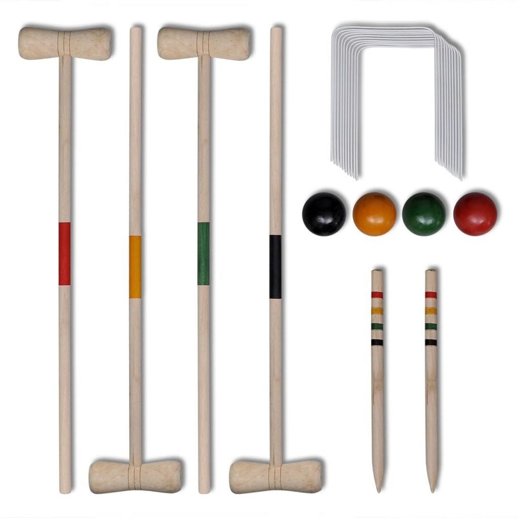 Set of 4 wooden croquet player