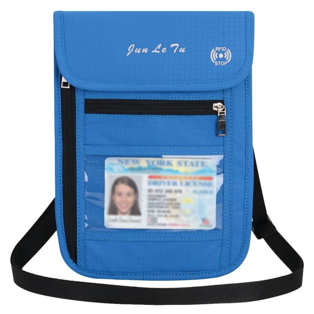 Travel Pouch Neck Wallet with RFID Blocking Passport Holder Document Organizer Bag for Men Women