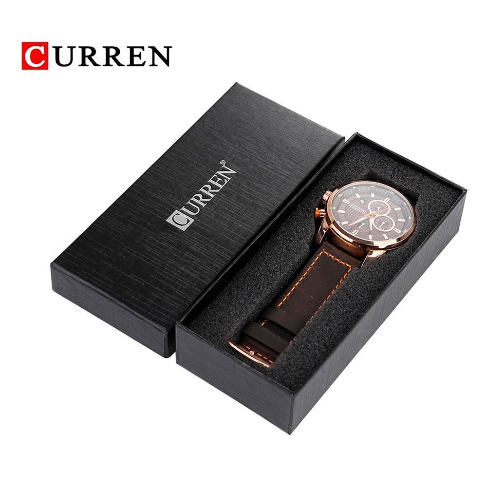 CURREN Watch Box Cardboard Paper Watch Storage Case Black Exquisite Gift Watch Container