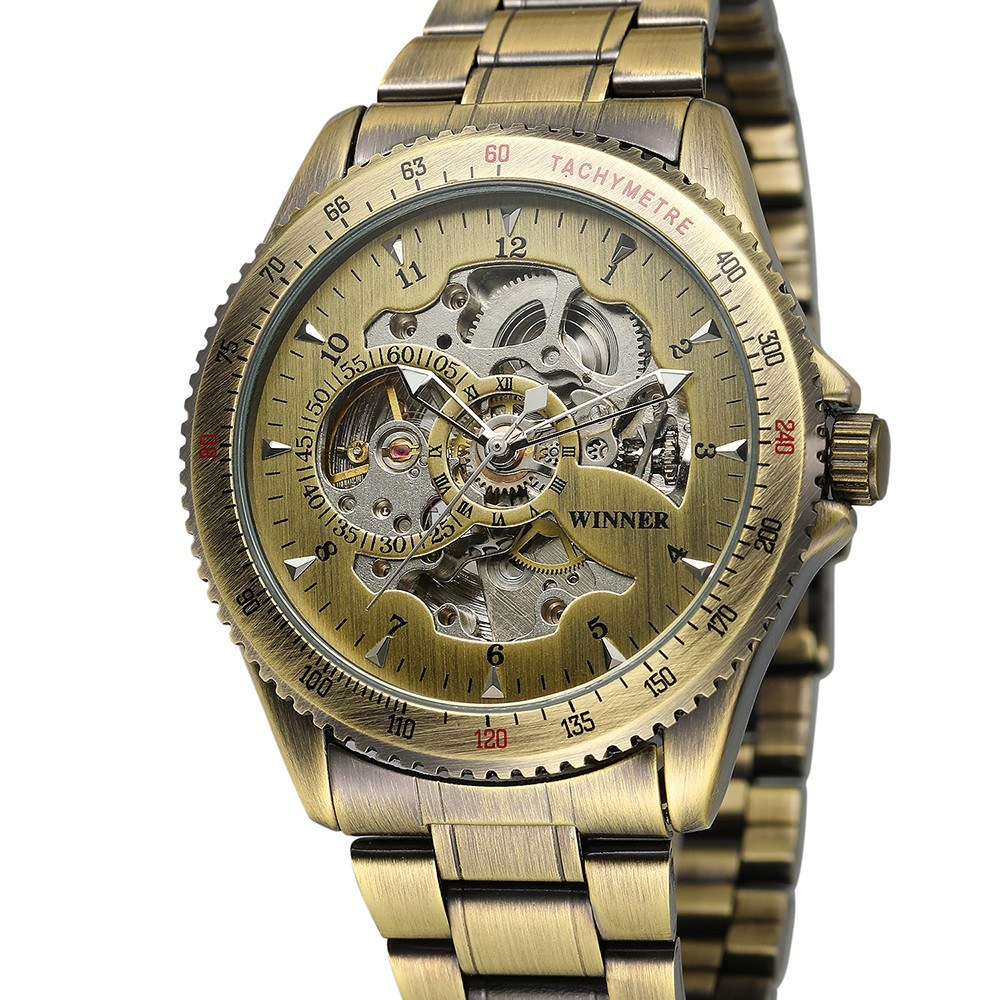 Winner 8085 Men Fashion Automatic Mechanical Business Wrist Watch Luxury Fashion Military Watch Men Skeleton Dial Stainless Steel/Leather Optional Strap Men Watch with Gift Box