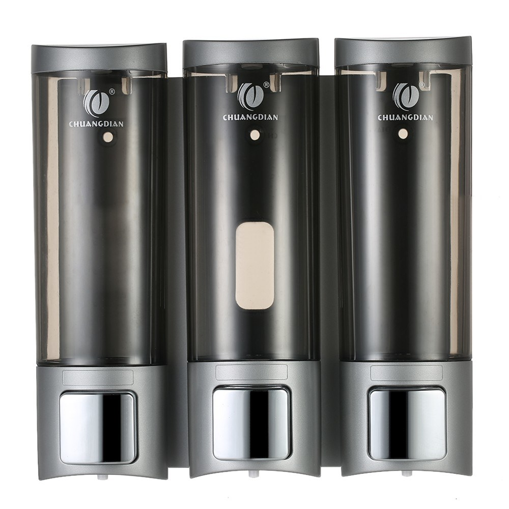 CHUANGDIAN Manual Soap Dispensers with Double Sided Foam Tape Wall-mounted Three Chamber Shampoo Box Shampoo Shower Gel Liquid Soap Dispensers Rest Room Washroom Toilet Soap Dispenser & Holder 200ml*3