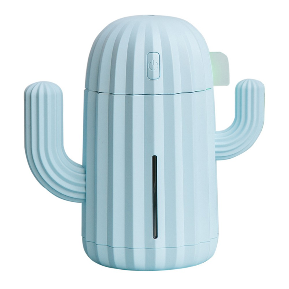 340ML Cactus Shape Room Humidifier with Night Light USB Charging Mini Office Home Humidifier Portable Quiet Air Purification Diffuser-blue