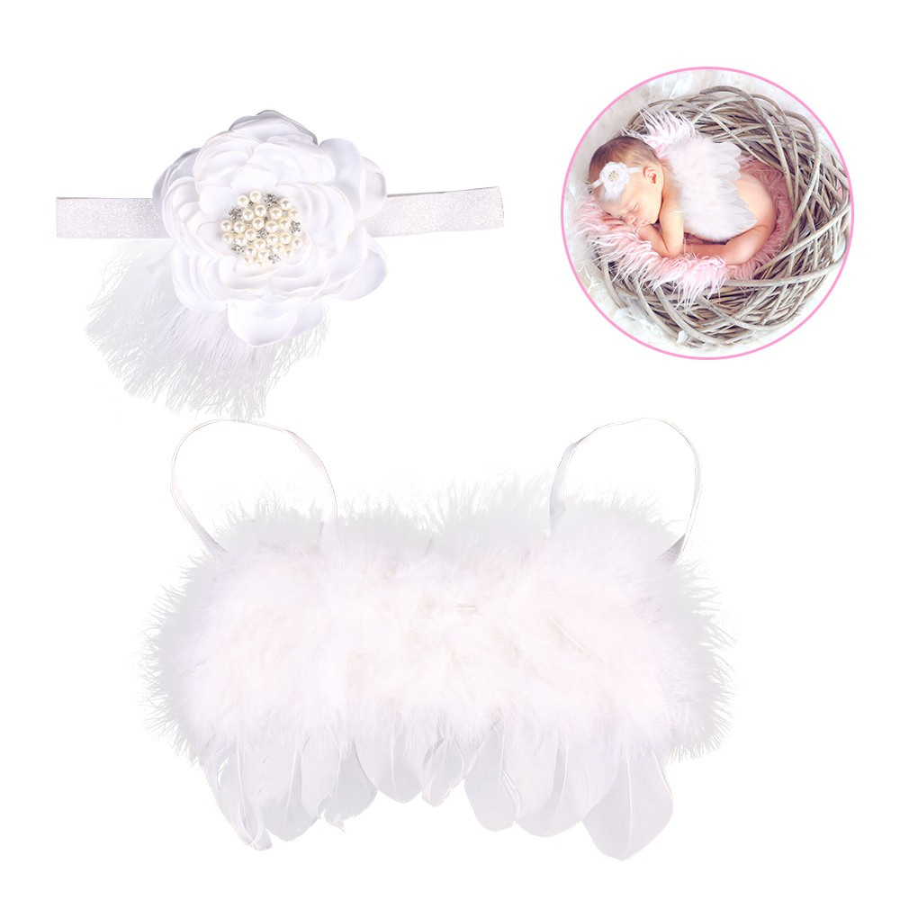 Newborn Photography Props Angel Feather Plume Wings and Headband Set Photo Costume Outfit Floral Hair Accessory Unisex Baby Infant White