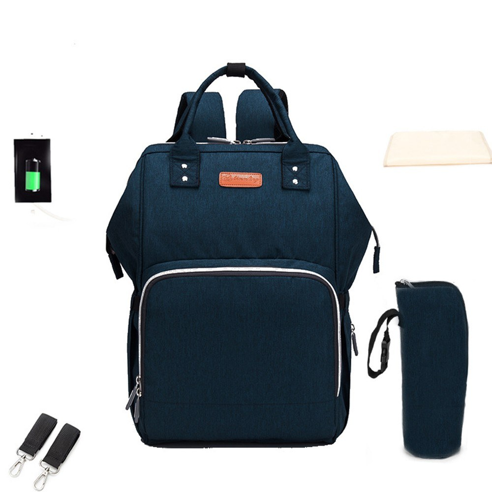 Baby Diaper Bag Backpack Mummy Bag Nappy Bags Multi-function Large Capacity Shoulders Bag with Insulated Bottle Pockets External USB Charging Port