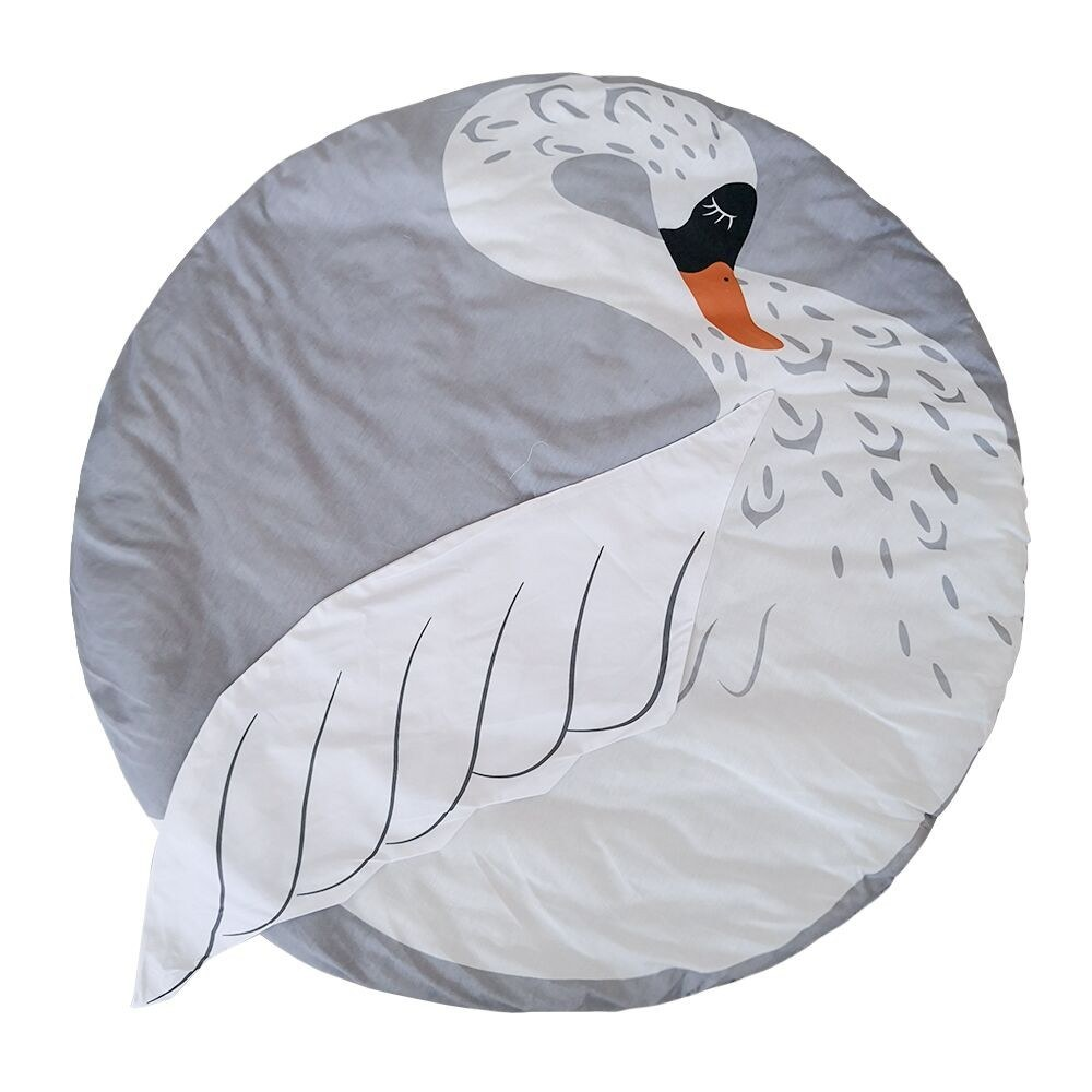 Kids Nursery Rug Swan Shaped Play Mat Round Carpet Cartoon Swan Design Baby Floor Playmats for Home Room Decoration 37.4 Inch Grey