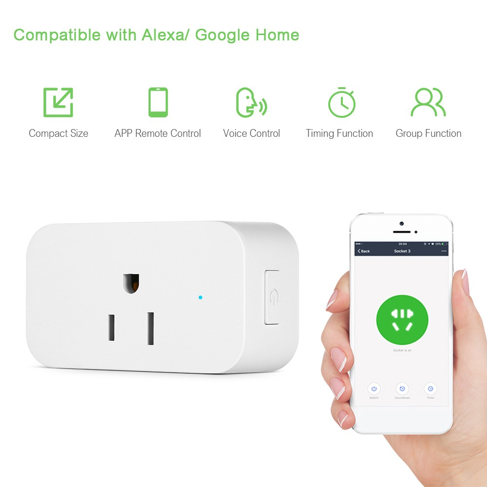 Smart Wi-Fi Plug Voice Control Compatible with Alexa/ Google Home APP Remote Control Schedule Function Smart In-wall Socket Outlet 15A White US Plug AC 125V