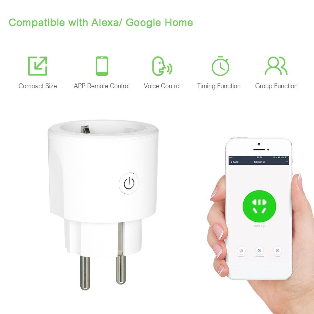 Smart Wi-Fi Plug Voice Control Compatible with Alexa/ Google Home APP Remote Control Schedule Function Smart In-wall Socket Outlet 16A White EU Plug AC 100-240V