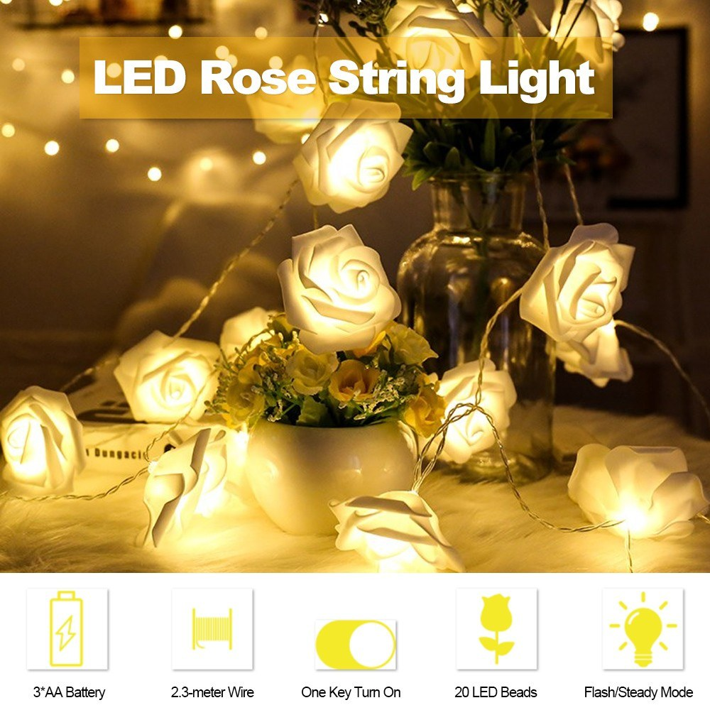 LED Rose String Light with 2 Modes 2.5-meter Length 20 Bulbs Fairy String Lights Bed Light Night Light Home Decor for Valentine's Day Party Bedroom Windows Christmas Tree Warm Glow Light
