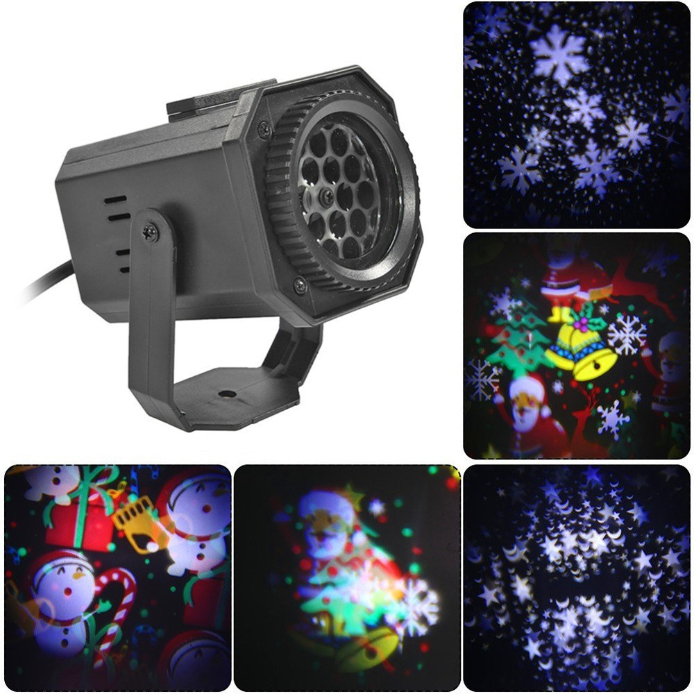 AC85-240V DC12V LED Delicate Christmas Pattern Projection Lamp Multi-Hole Lens Type Energy Saving High Light Snowflake Pattern Lamp