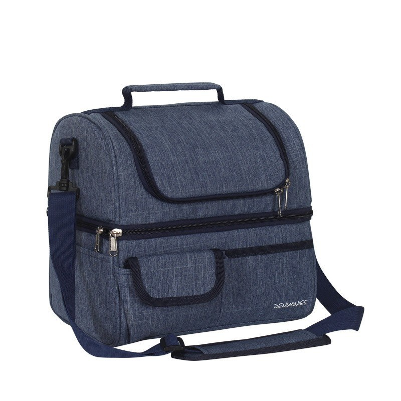 Factory direct double lunch box bag waterproof EVA lunch bag insulation bag lunch bag Amazon wholesale ice pack Navy Around 13L
