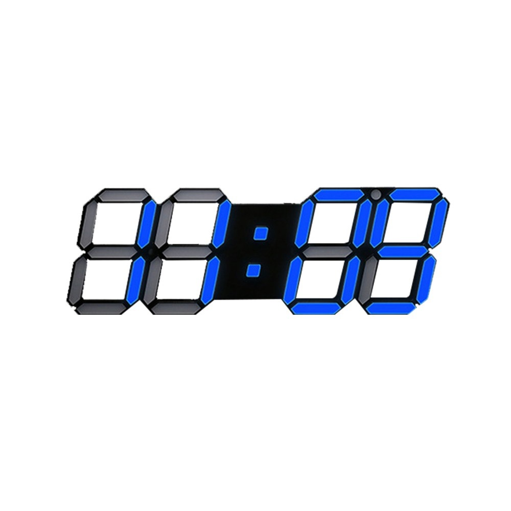 3D Intelligent Three-Dimensional With English Edition Remote Control Black Box Blue Light Multi-Function Wall Clock Without Adapter