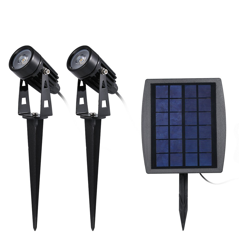 Solar Powered Lawn Light Twin Solar LED Spotlight 120-140 Lumen Per Light IP65 Water-resistant Garden Landscape Lamp with Inserting Pole for Outdoor Pathway Yard Patio White