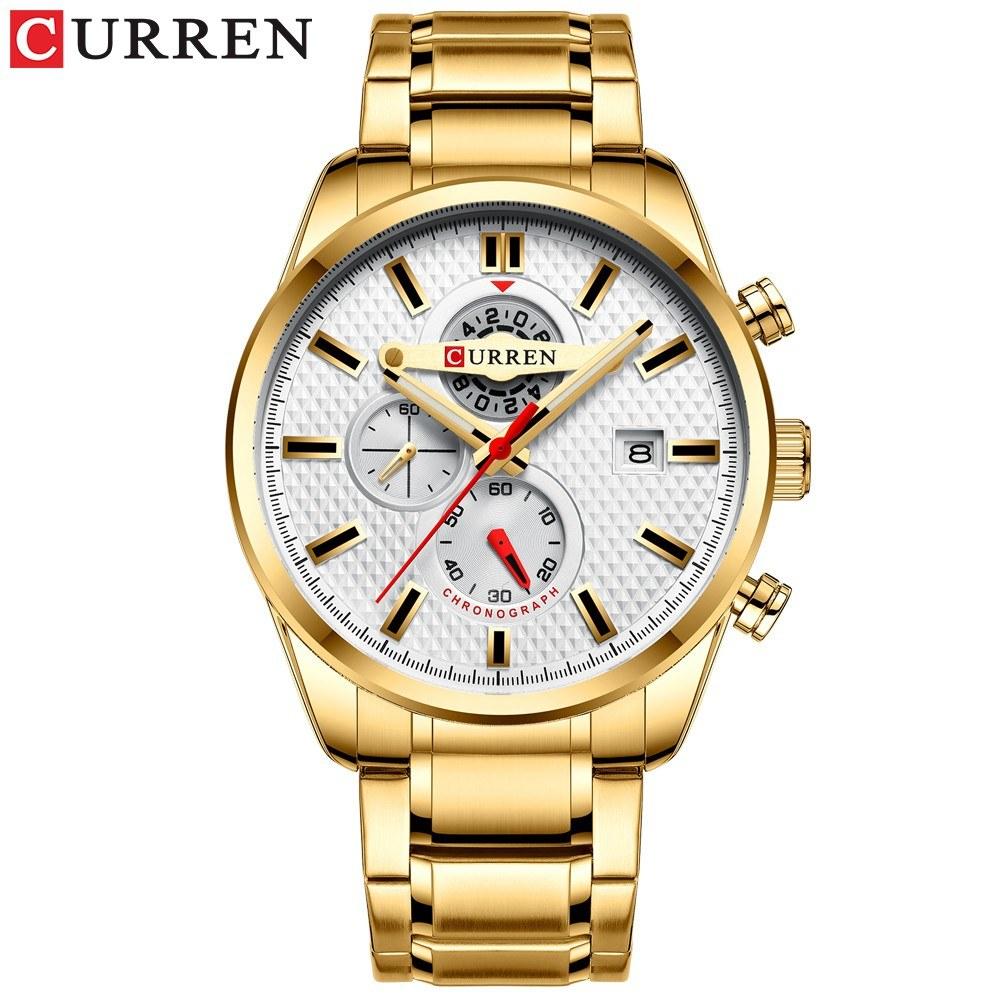 Curren Men Businiess Watch Exquisite Classic Alloy Case Stainless Steel Band Wrist Watch Fashion 3 ATM Waterproof Quartz Watch