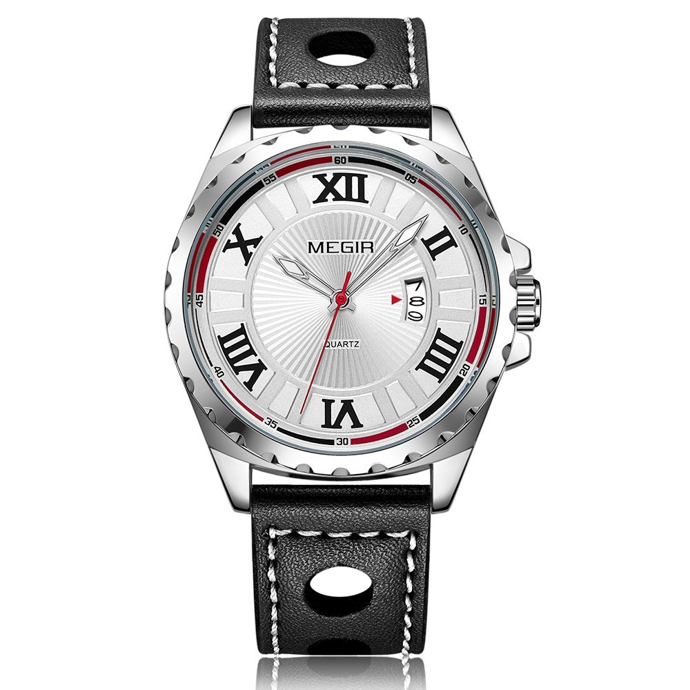 MEGIR 1019G Men Watch Quartz Sport Watch Waterproof Roman Numeral Dial Classic PU Strap Calendar Wrist watch with Gift Box