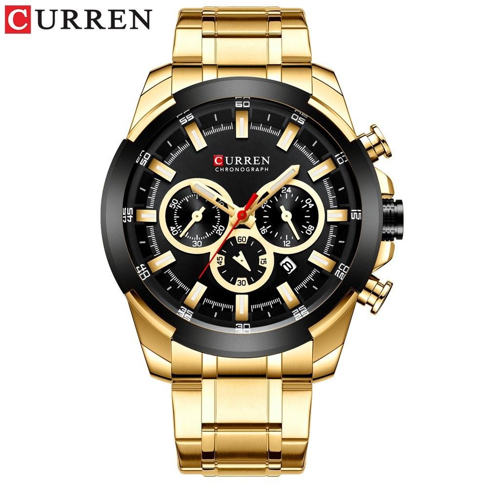 Curren Men Businiess Watch Exquisite Classic Alloy Case Stainless Steel Wrist Band Watch Fashion 3 ATM Waterproof Quartz Watch