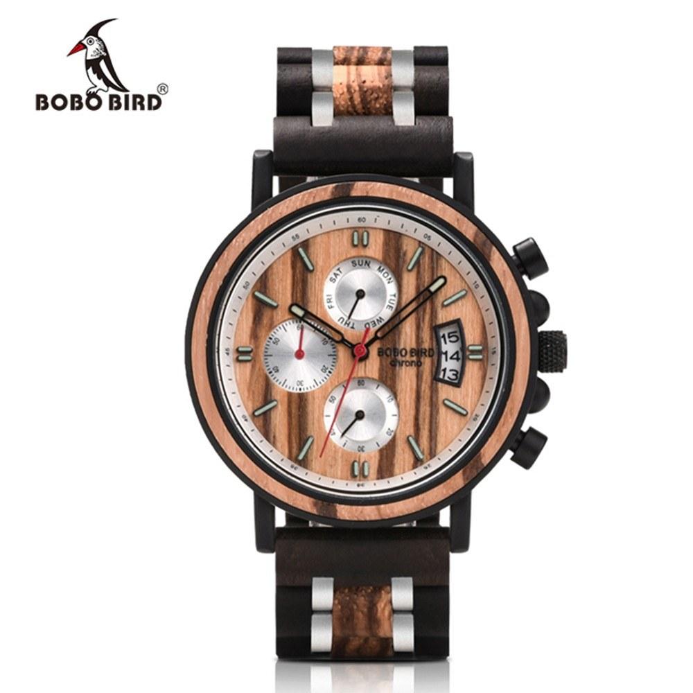 BOBOBIRD S18 Men Quartz Watch Wooden Band Fashion Multifunction Wristwatch 3ATM Luminous Display Chronograph Calendar Date Display Watches