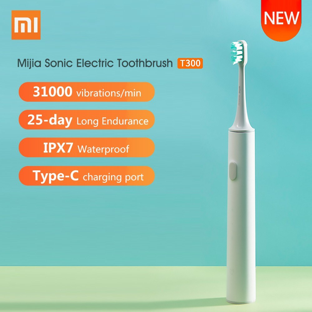Xiaomi Mijia Sonic Electric Toothbrush T300 USB Rechargeable Tooth Brush Ultrasonic Waterproof Tooth Brush Gum Health Teeth Whiten Deep Clean