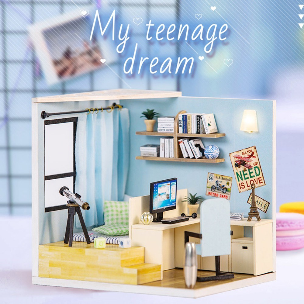 DIY Toy Doll House Miniature Wooden Puzzle Dollhouse kit with Furnitures Light Dust Cover Kids Birthday Gift Toys
