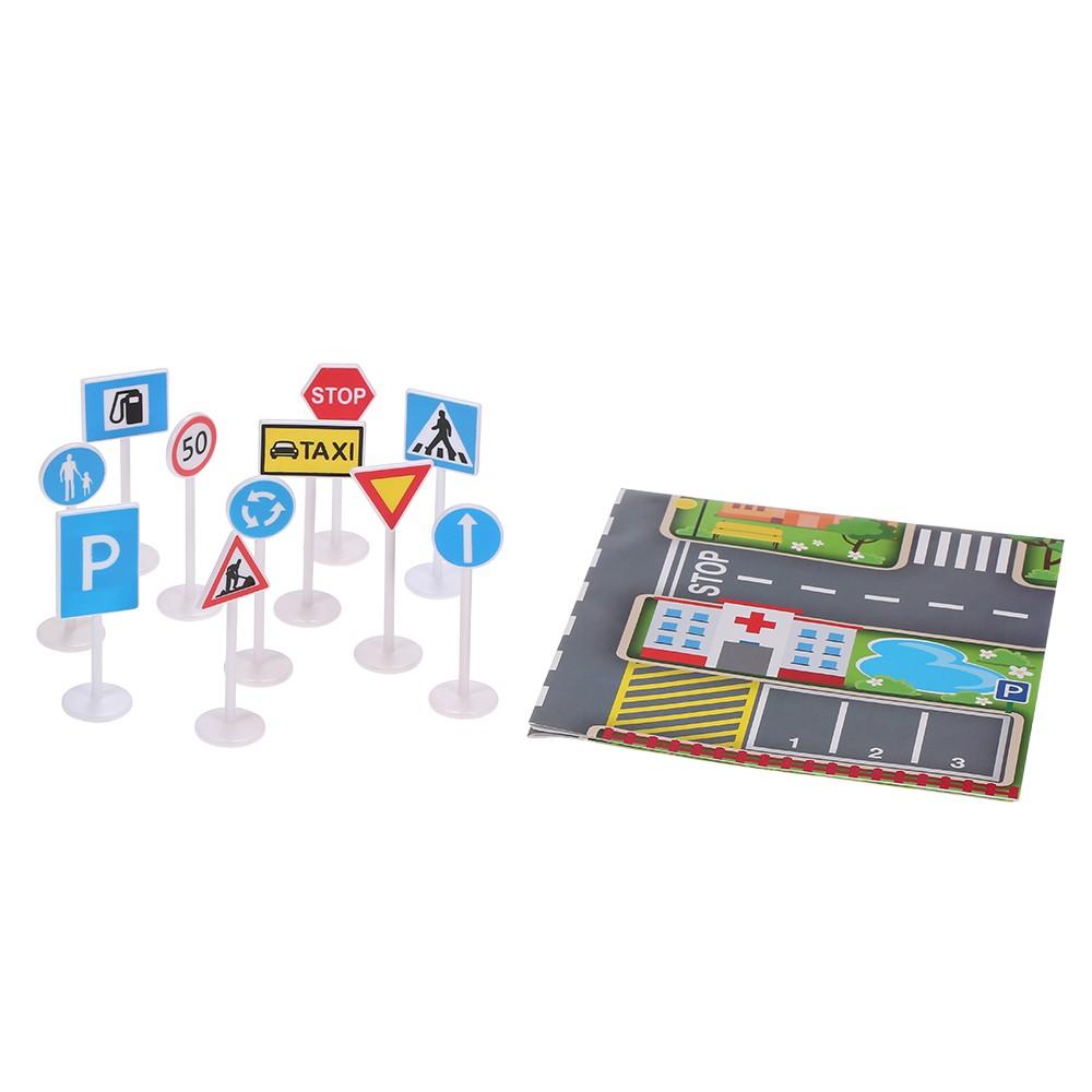 Traffic Signs Playset Plastics Toys for Children Kids Portable Gift Present