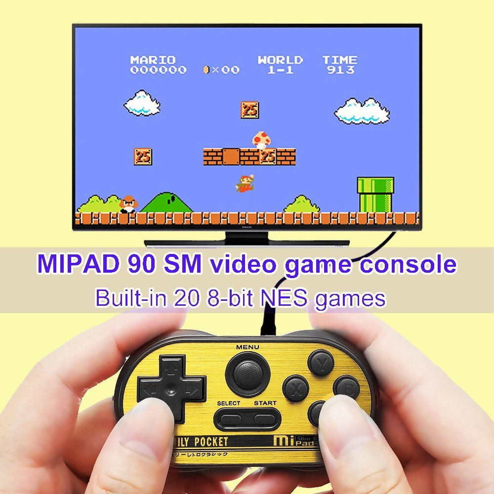 MIPAD 90 SM Mini Game Console Built-in 20 8-Bit NES Games Support TV Output Video Game Console Handheld Game Players for Children Kids