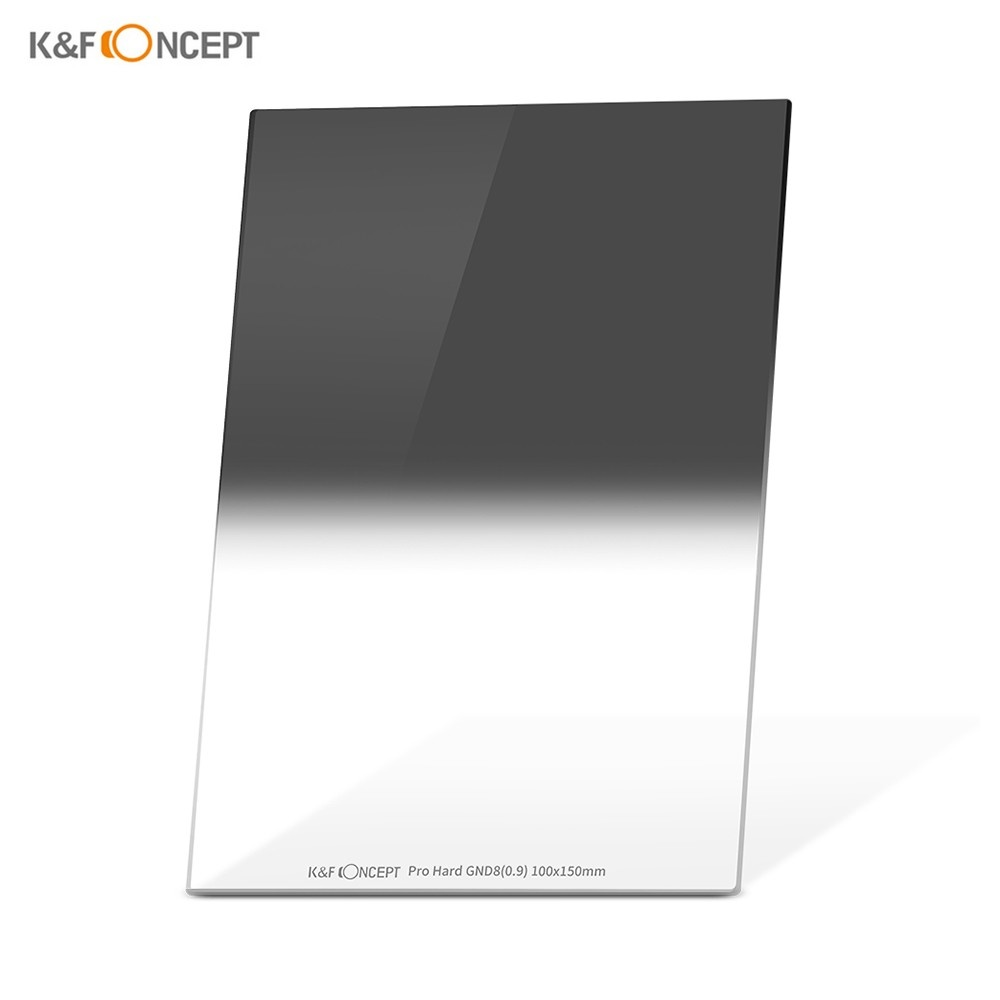 K&F CONCEPT 100*150*2.0mm Pro Hard GND8(0.9) Square Filter 100mm Graduated Neutral Density Filter HD Optical Glass Waterproof Scratch Resistant