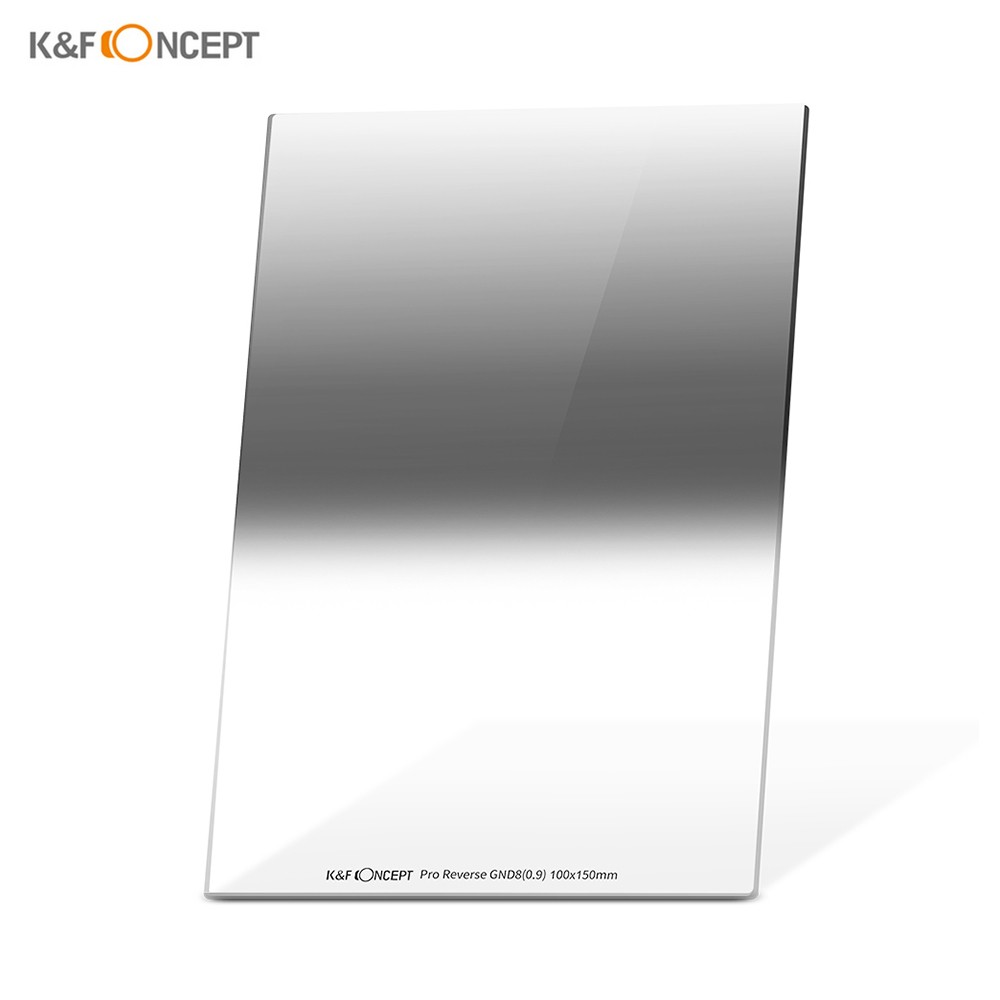 K&F CONCEPT 100*150*2.0mm Pro Reverse GND8(0.9) Square Filter 100mm Graduated Neutral Density Filter HD Optical Glass Waterproof Scratch Resistant