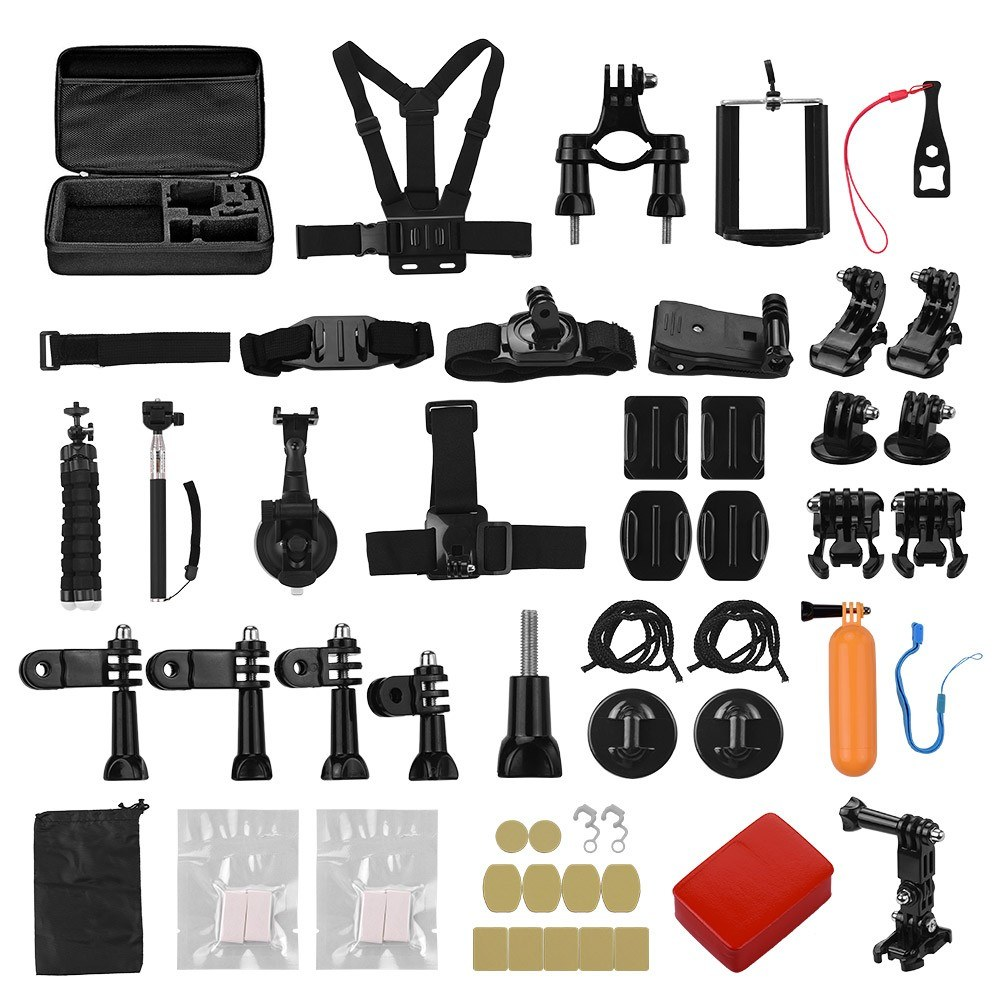 50-in-1 Action Camera Accessories Kit Including Floating Grip Helmet Belt Chest Strap Head Strap Wrist Straps Bicycle Bar Mount Set Flexible Tripod Handheld Monopod Phone Holder Floaty Stickers etc for GoPro Hero 8 7 6 5 4 3+ Session 5 for DJI OSMO for Xi