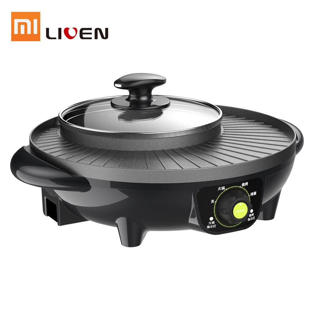 Xiaomi Liven Electric Barbecue Grill and Hot Pot 2 In 1 Non Stick Kitchen Cook Machine Easy Clean With Rotary Knob Control 1600W 220V