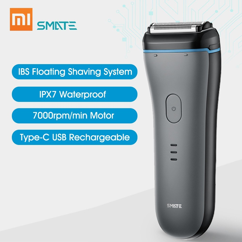 Xiaomi Smate Electric Shaver Men Razor Type-C USB Rechargeable Fast Charge Dry Wet Use Full Body Washable Shaving Machine with 3 Blades