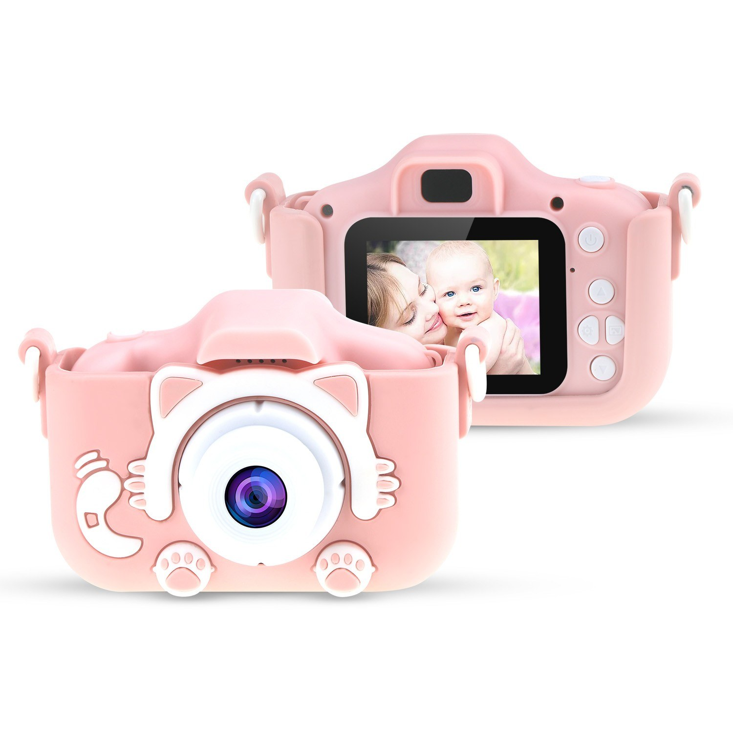 20MP 1080P HD Kids Children Digital Camera Mini Video Camcorder 2.0 Inch IPS Color Screen with Front & Rear Dual Cameras Games Mode 32GB Memory Card