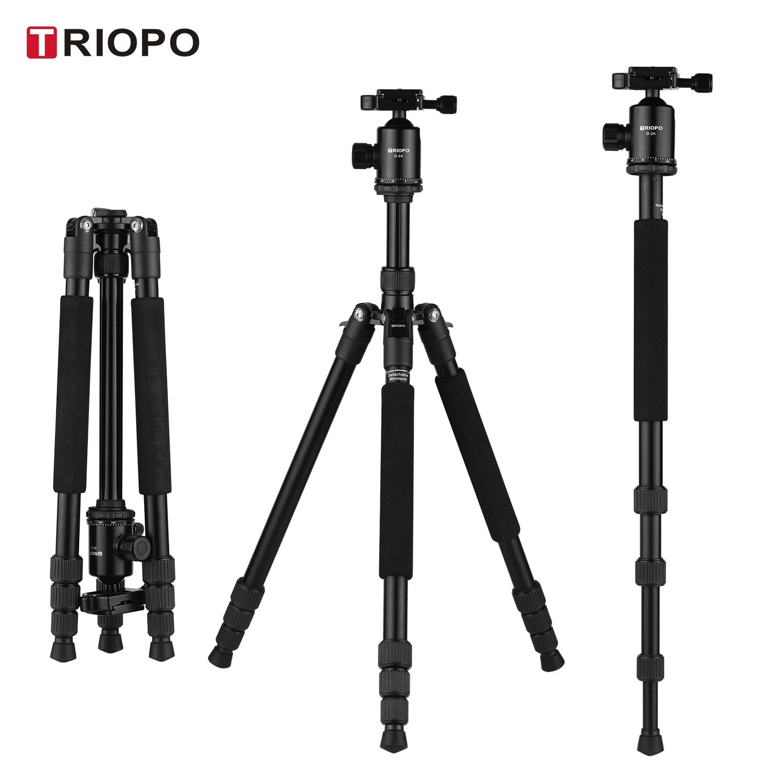 TRIOPO M2508 Aluminum Alloy Camera Tripod Monopod with D-2A 360° Panoramic Ball Head 4-Section Extendable Max. Height 164cm Compatible with Canon Nikon Sony DSLR ILDC Cameras Max. Load Capacity 10kg