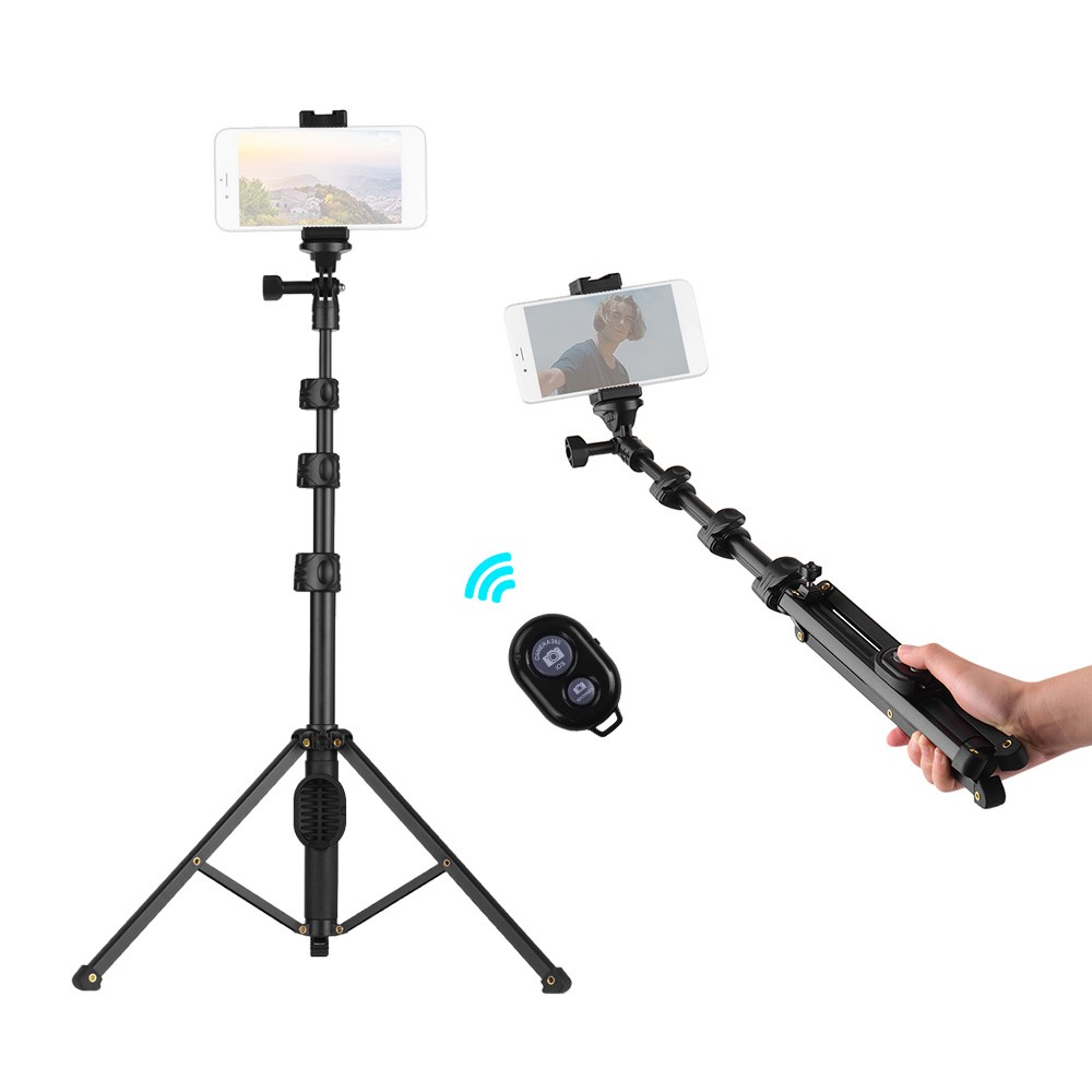 2-in-1 Phone Tripod Selfie Stick Extendable Height with Wireless Remote Control Compatible with iPhone Android Samsung Huawei Xiaomi Smartphones