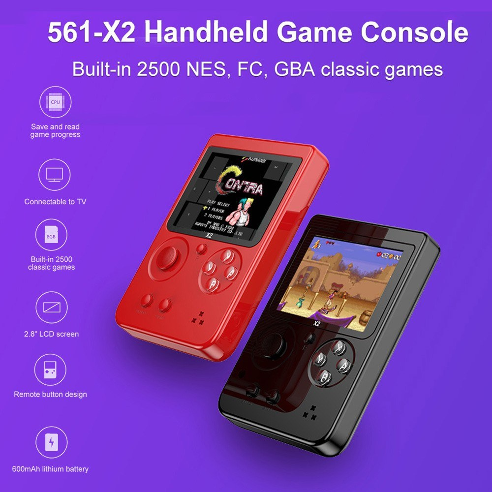561-X2 Nostalgic Handheld Game Console Built-in 2500 NES FC GBA Games 2.8 Inch LCD Children Birthday Gift