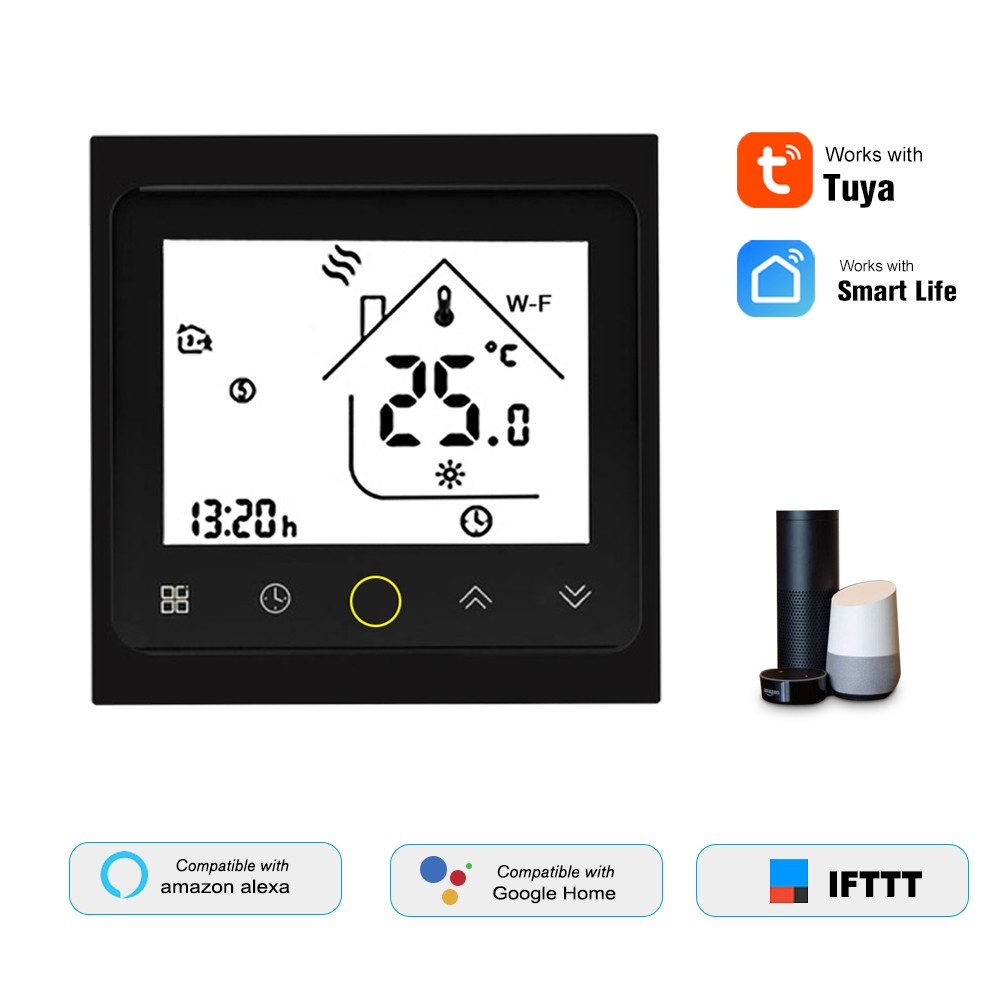 THP1002-WHPW Water Heating Thermostat Smart WiFi Digital Temperature Controller Tuya/SmartLife APP Control Backlit LCD Display Programmable Voice Control Compatible with Amazon Echo/Google Home/Tmall Genie/IFTTT 3A AC95-240V