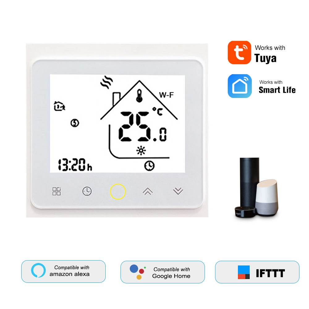 THP1002-GCLW Water/Gas Boiler Thermostat Smart WiFi Digital Temperature Controller Tuya/SmartLife APP Control Backlit LCD Display Programmable Voice Control Compatible with Amazon Echo/Google Home/Tmall Genie/IFTTT 3A AC95-240V