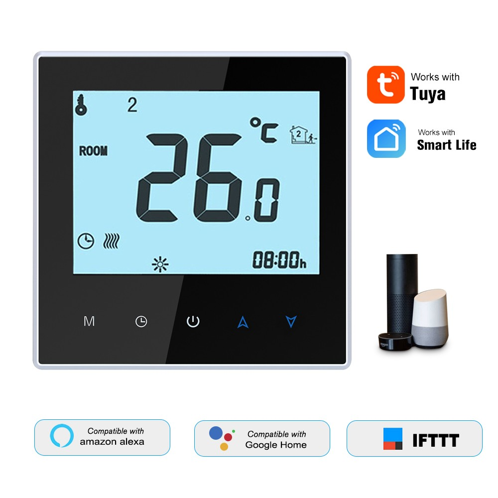 THP1000-WHPW Water Heating Thermostat Smart WiFi Digital Temperature Controller Tuya/SmartLife APP Control Backlit LCD Display Programmable Voice Control Compatible with Amazon Echo/Google Home/Tmall Genie/IFTTT 3A AC95-240V