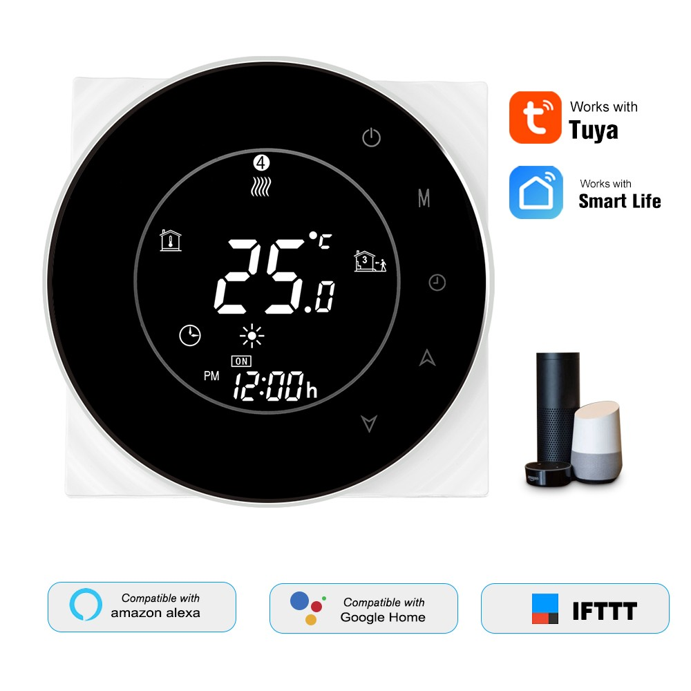 THP6000-GCLW Water/Gas Boiler Thermostat Smart WiFi Digital Temperature Controller Tuya/SmartLife APP Control Backlit LCD Display Programmable Voice Control Compatible with Amazon Echo/Google Home/Tmall Genie/IFTTT 3A AC95-240V